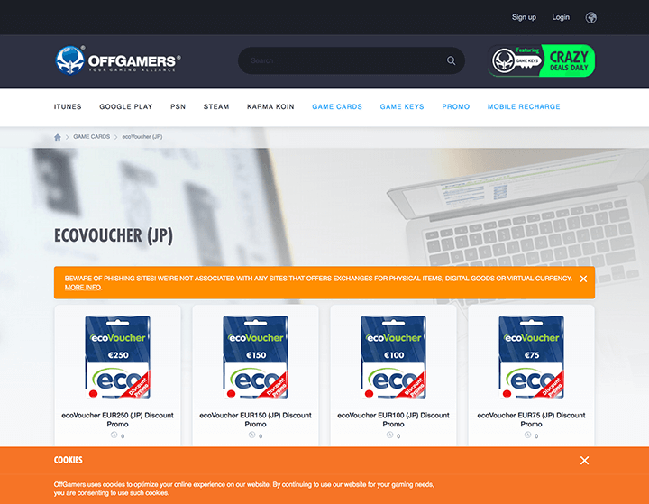 ecoVoucher(JP)の購入画面