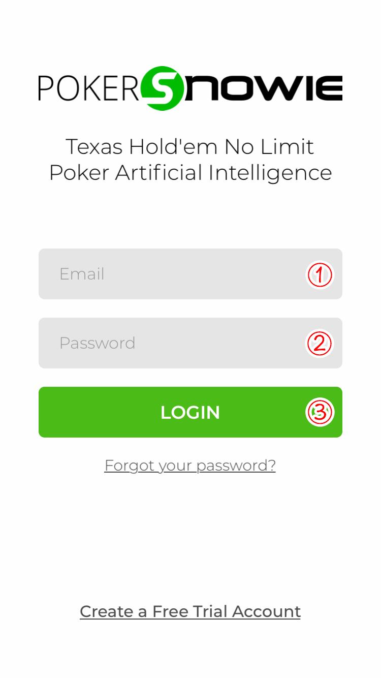 PokerSnowieのログイン画面
