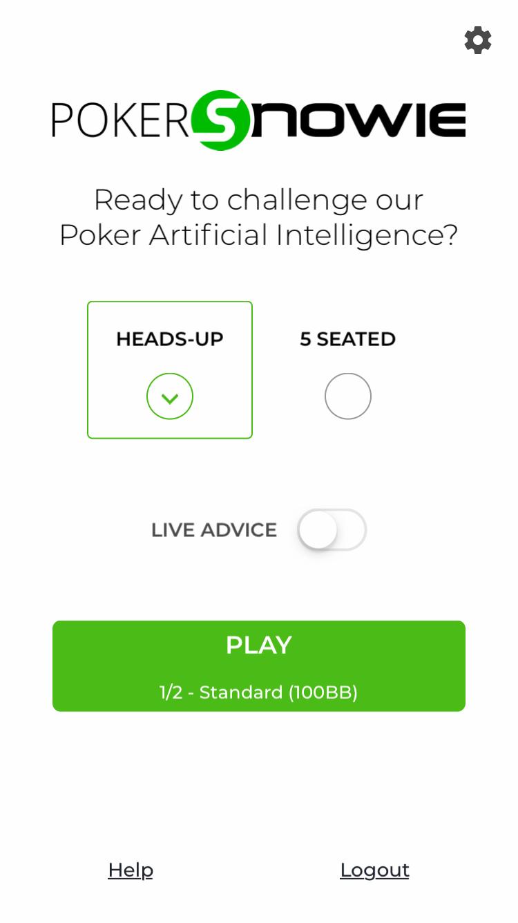 PokerSnowieスマホアプリの初期画面